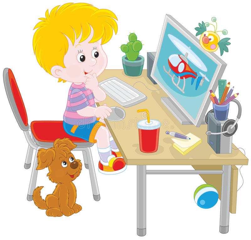 Little computer gamer. Vector illustration of a boy sitting at his table in front of a computer monitor vector illustration