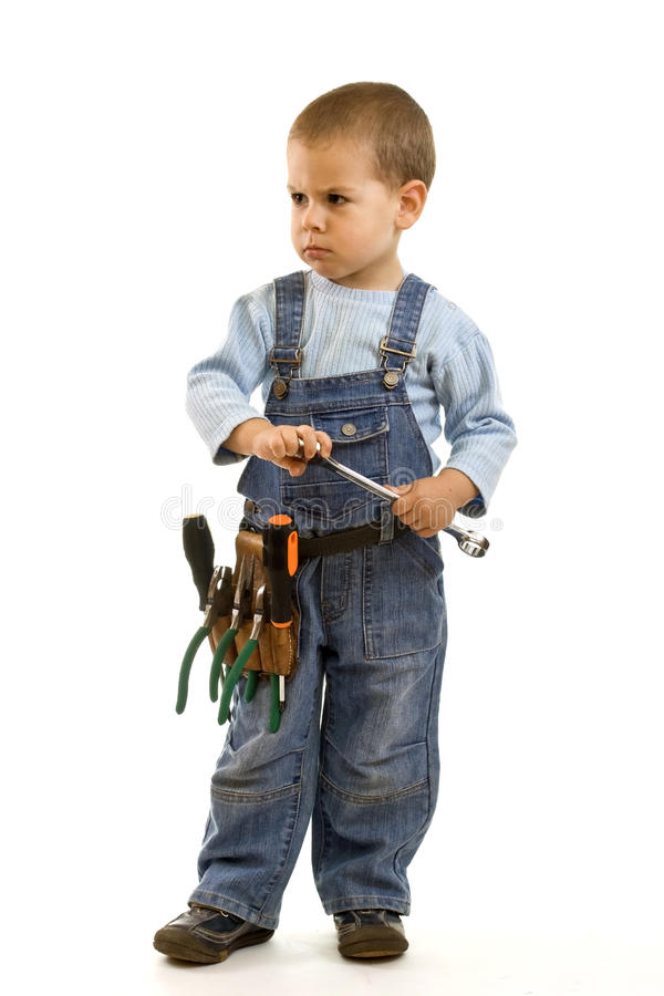 Little construction boy royalty free stock image
