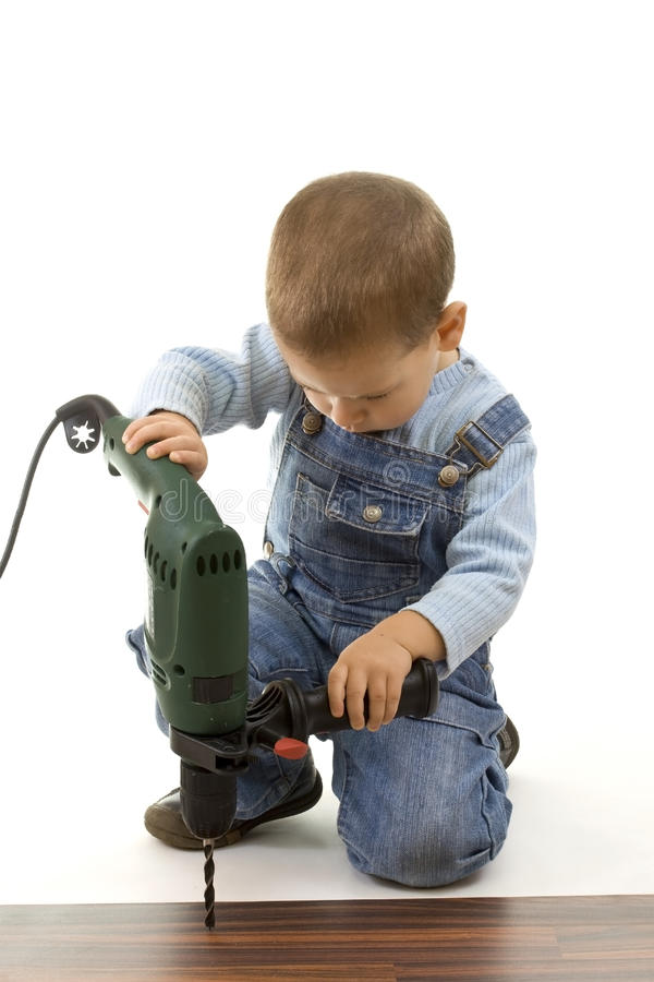 Little construction boy royalty free stock photography