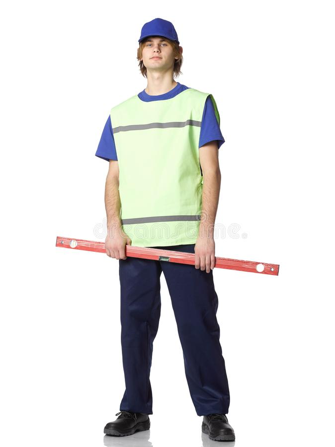 Little construction worker. stock image