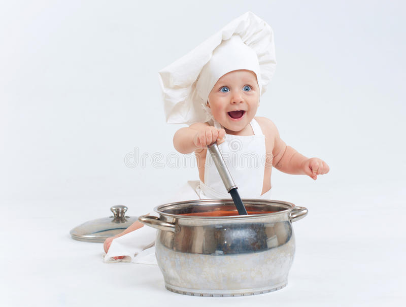 Download Little cook. stock photo. Image of cook, beautiful, isolated - 18857726