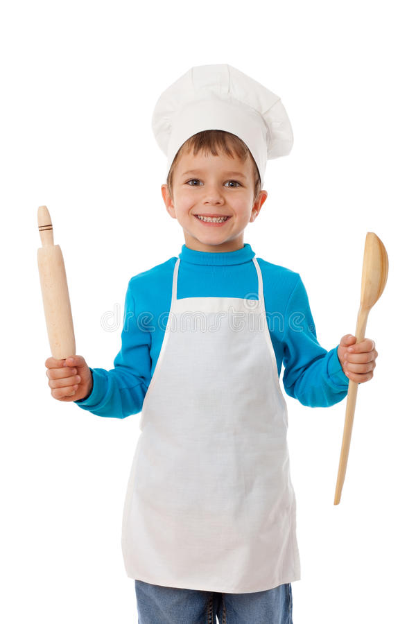 Download Little Cook With Ladle And Rolling Pin Stock Image - Image of people, healthy: 27520151