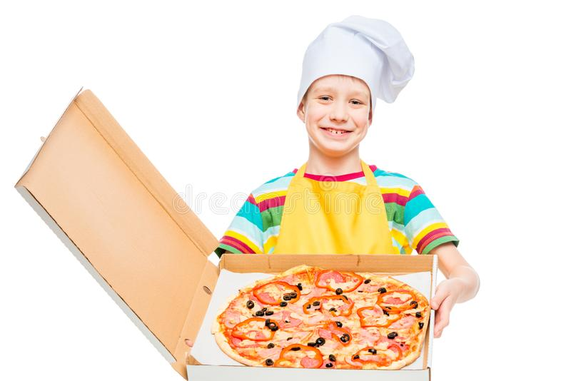 Little cook in pizza cap in box on white background stock images
