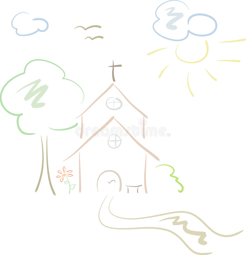 Little country church in pastels. Pastel-colored, hand-drawn illustration of a little country church, isolated stock illustration