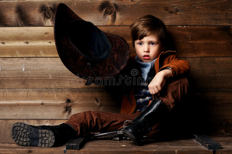 Download Little cowboy stock photo. Image of studio, wearing, clothes - 27343134