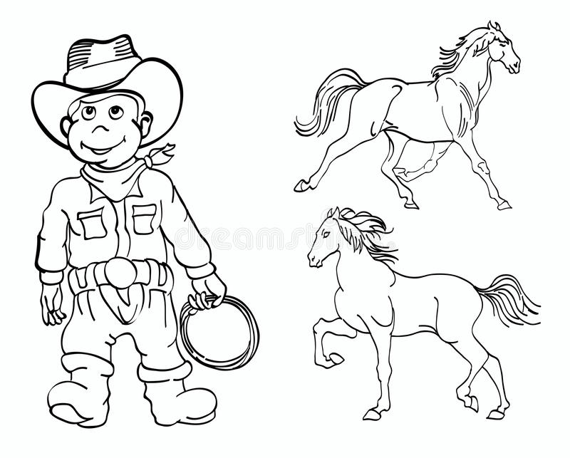 Little cowboy and horses stock photography
