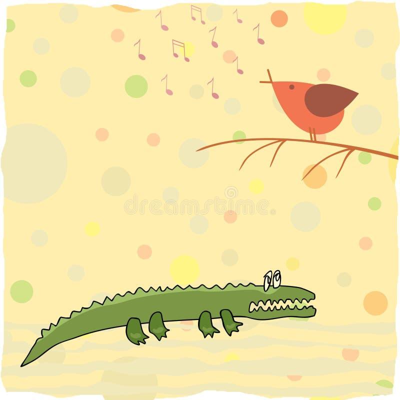 Little crocodile listen a bird singing stock illustration