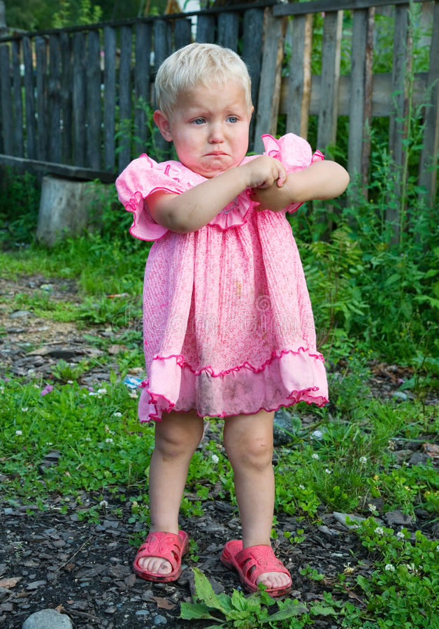The little crying girl royalty free stock photos