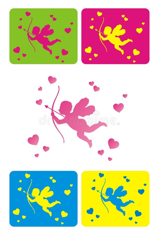 Little cupid. With hearts as a symbol of st. valentines day vector illustration