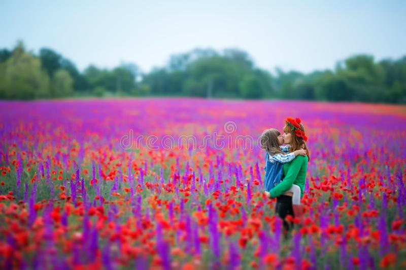 Little curly blond boy and girl play in poppy flower field. Child picking red poppies. Toddler kid in summer meadow stock photos