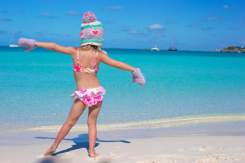 Little cute adorable girl on tropical beach royalty free stock image