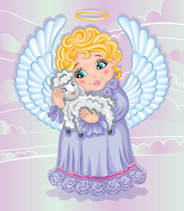 Little cute angel and sheep stock illustration