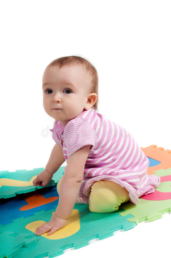 Download Little Cute Baby Sitting On The Floor Royalty Free Stock Photos - Image: 30939658