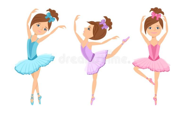 Little cute ballerinas in tutu dress and pointe dance. Vector cartoon dancing girls royalty free illustration