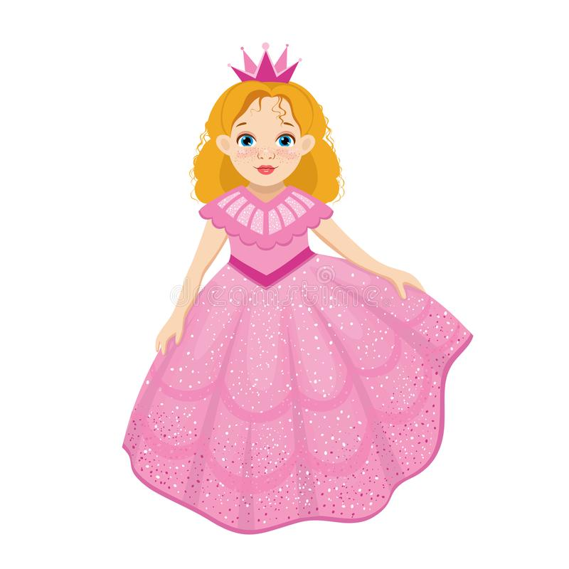 Little cute beautiful princess in cartoon style stock illustration