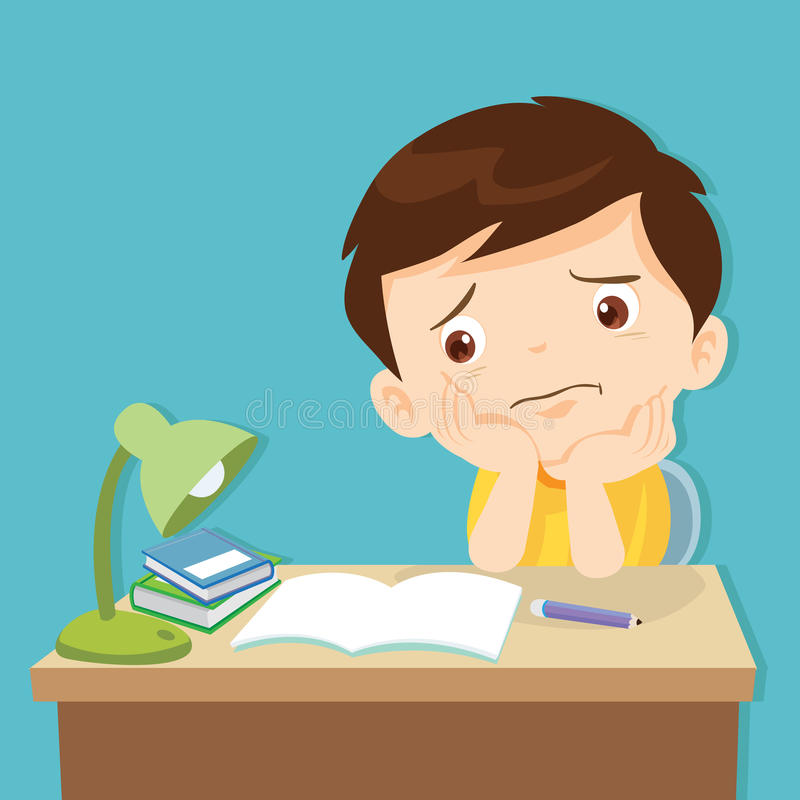 Little cute boy bored homework. Kid boring about something.back to school.cute boy bored homework vector illustration