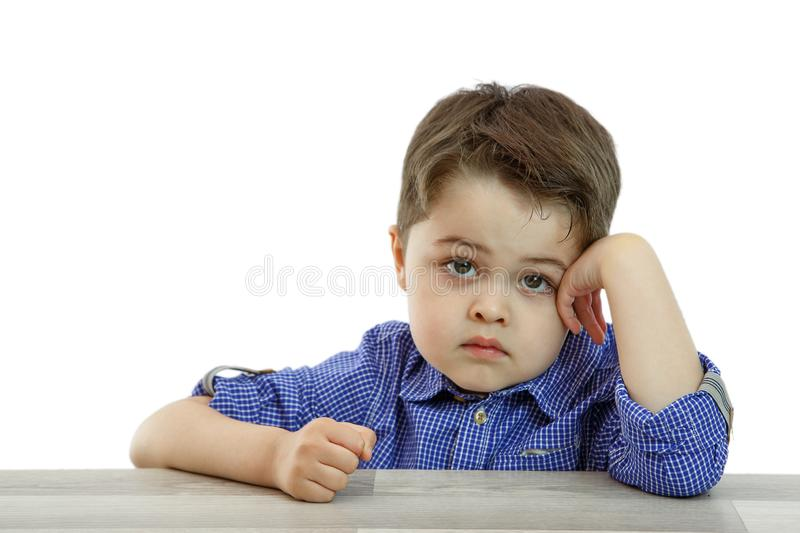 Little cute boy with different emotions on face on isolated background stock photos