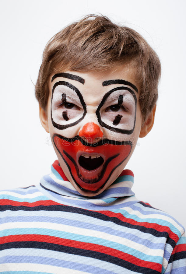 Download Little Cute Boy With Facepaint Like Clown Stock Image - Image: 38772509