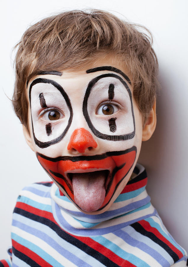 Download Little Cute Boy With Facepaint Like Clown Stock Image - Image of holiday, up: 38772527