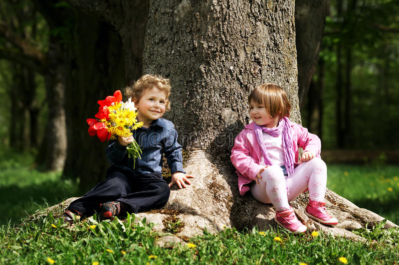 Download Little Cute Boy And Girl On Date Stock Photo - Image: 29466078