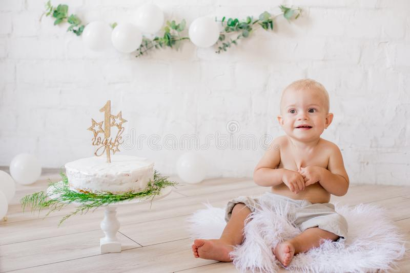 Little cute boy on his first birthday with a festive cake and decor with white balloons and sprigs of eucalyptus. Rustic First Birthday Party royalty free stock photos