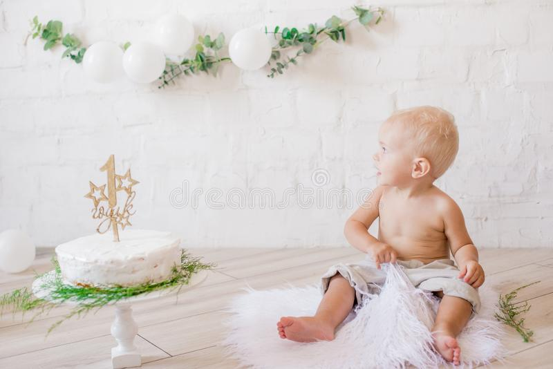 Little cute boy on his first birthday with a festive cake and decor with white balloons and sprigs of eucalyptus. Rustic First Birthday Party stock images