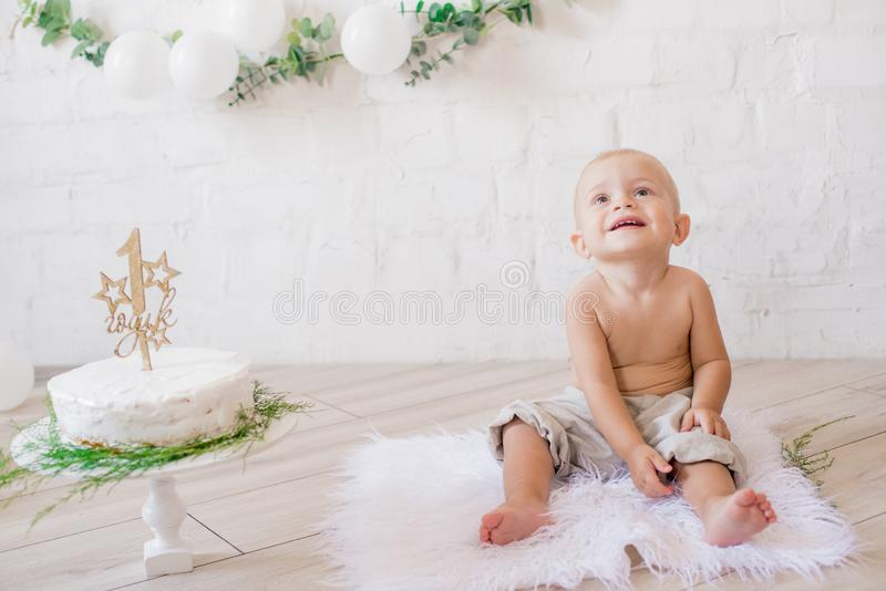 Little cute boy on his first birthday with a festive cake and decor with white balloons and sprigs of eucalyptus. Rustic First Birthday Party stock image