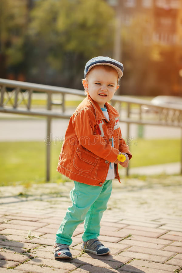 The little cute boy in a jacket and a cap holds a dandelion in stock photo