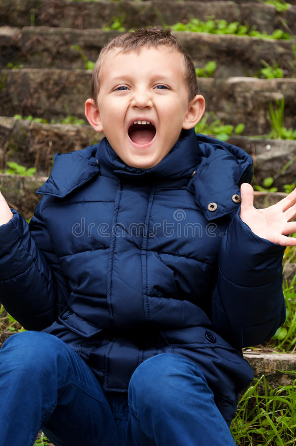 Little Cute Boy Screaming Royalty Free Stock Photos