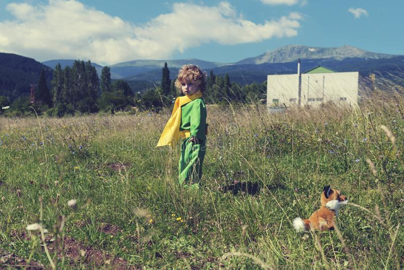 Little cute boy staying in the middle of meadow with fox toy in green clothes with yellow scarf. Selective focus royalty free stock images