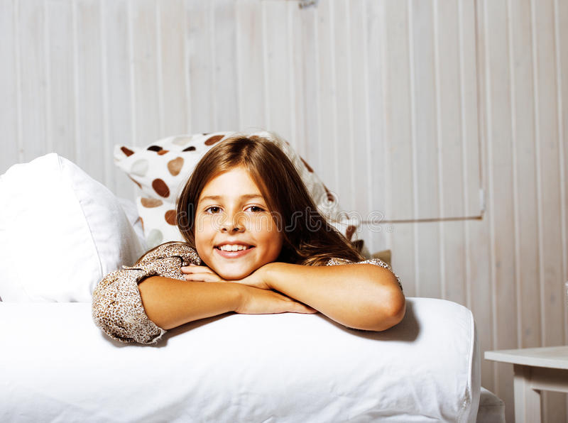 Download Little Cute Brunette Girl At Home Interior Happy Smiling Close U Stock Photo - Image: 83723072