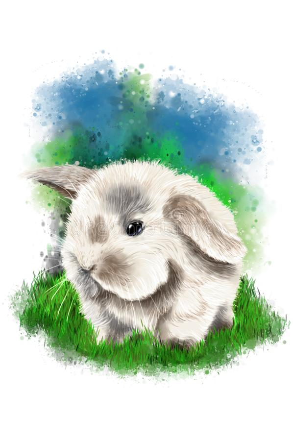 Little cute bunny on abstract background. royalty free stock images