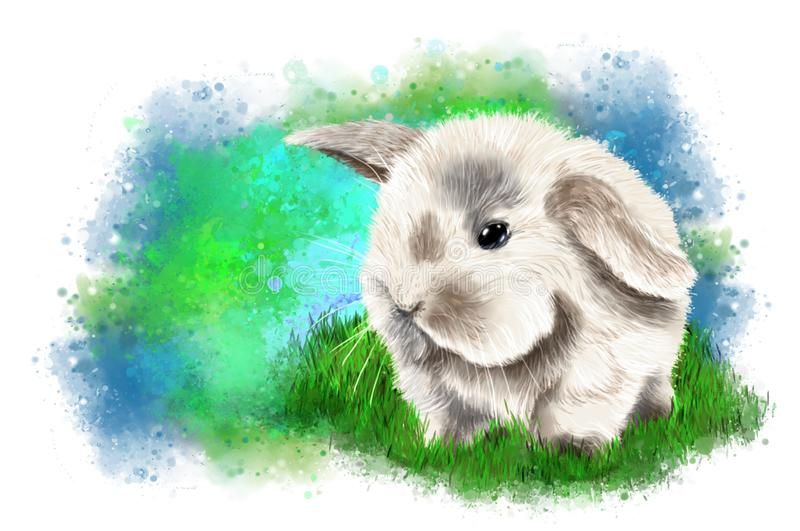 Little cute bunny on abstract background. royalty free stock photo