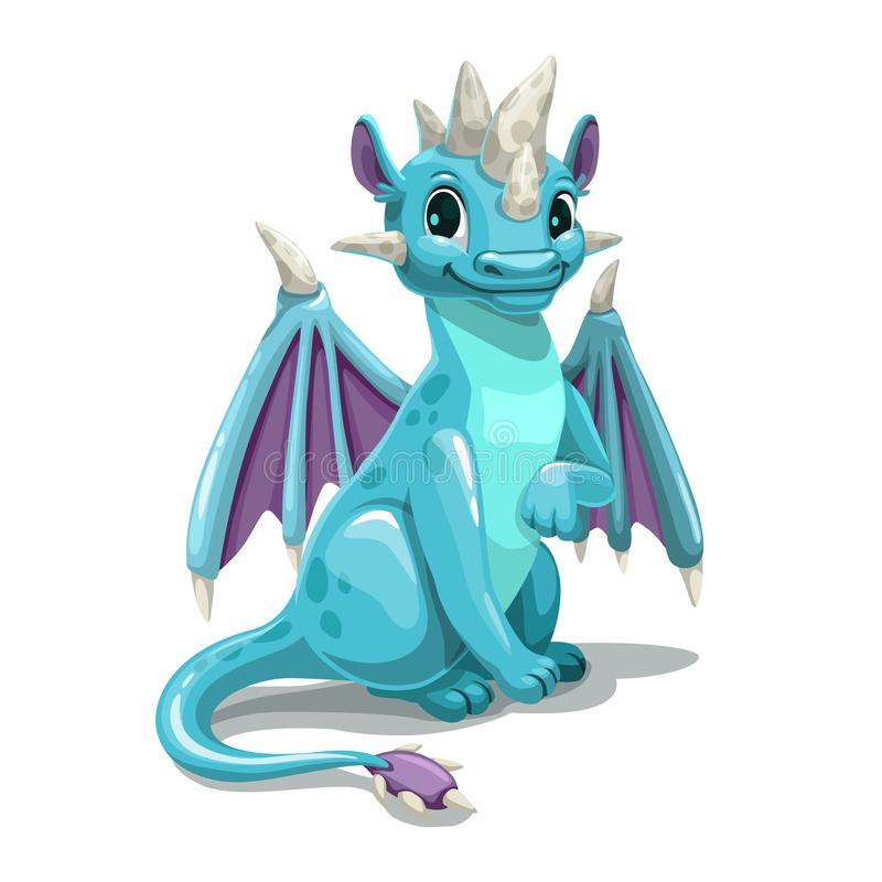 Free Little Cute Cartoon Blue Dragon. Isolated On White Background. Stock Image - 157694201