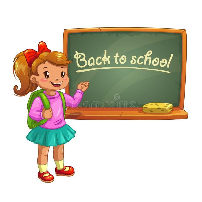 Little cute cartoon girl near school blackboard. stock illustration