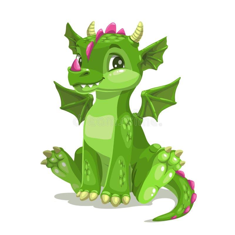 Little cute cartoon green baby dragon. Vector illustration. royalty free illustration