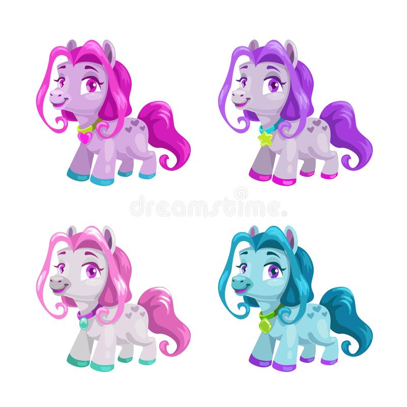 Little cute cartoon horses set. Pony princess toys collection. Isolated vector icons on the white background vector illustration