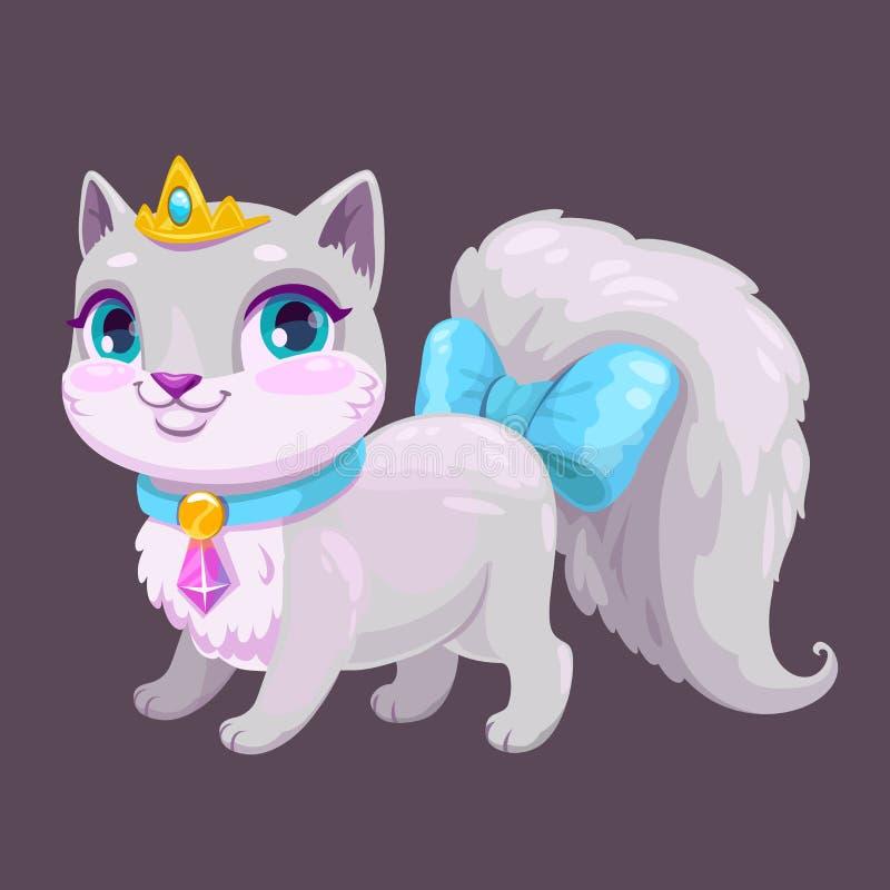 Little cute cartoon kitty princess. Vector adorable kitten icon. Fancy cat illustration vector illustration