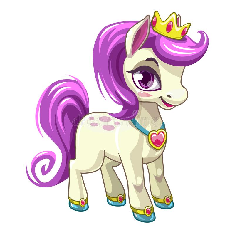 Little cute cartoon pony princess. Pretty horse with purple hair. Beautiful print for girls t-shirt design. Isolated vector icon stock illustration
