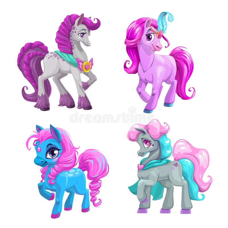 Little cute cartoon pony princess set. Vector beautiful horses icons. Isolated on white background stock illustration