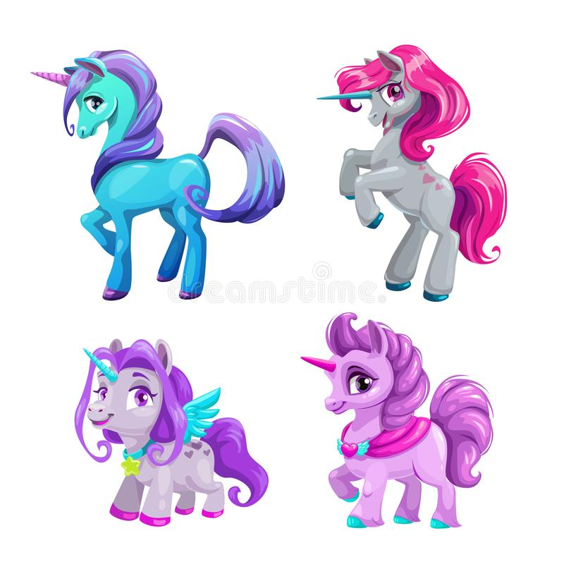 Little cute cartoon unicorn icons set. Beautiful fantasy pony. Pretty girlish vector illustration for girls t shirt print design vector illustration