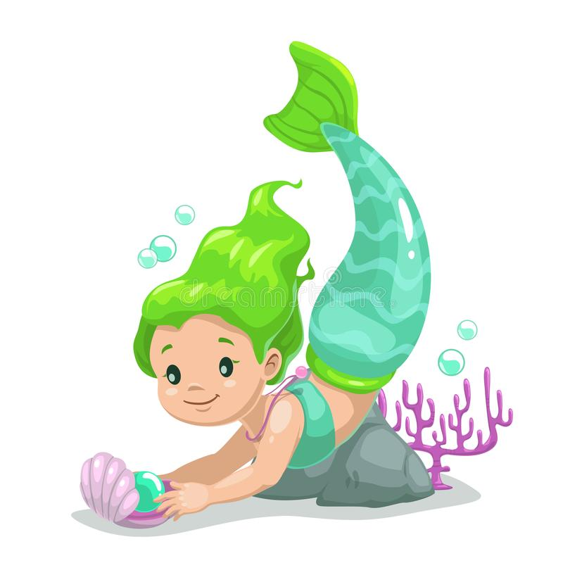 Little cute cartoon young mermaid princess. With long green hair. Beautiful vector childish illustration stock illustration