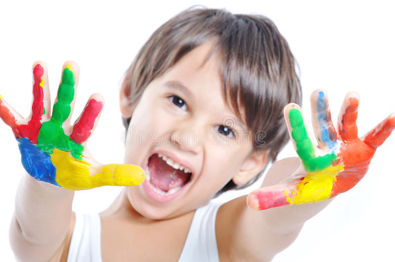 A little cute child with colors stock photos