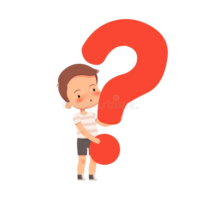 Free Little Cute Curious Boy Holds A Question Mark. The Child Asks Questions And Is Interested In The World. Royalty Free Stock Photography - 174532767