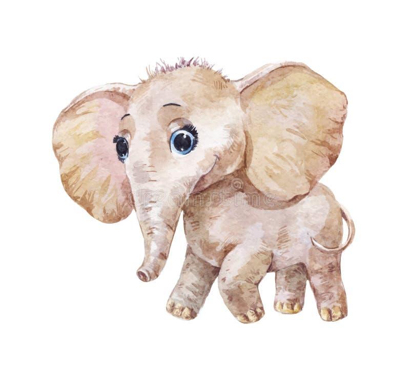 Little cute elephant, vector watercolor illustration vector illustration