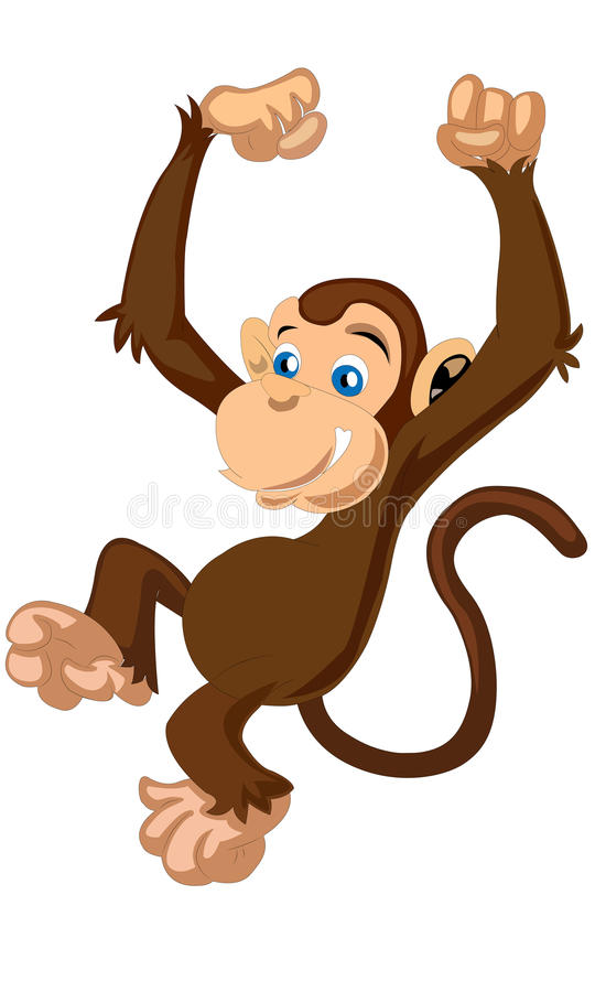 Little cute funny cartoon brown monkey vector stock illustration