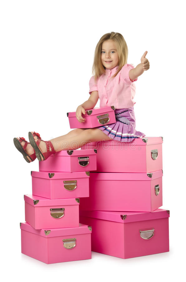 Download Little cute girl stock image. Image of attractive, gifts - 27907765
