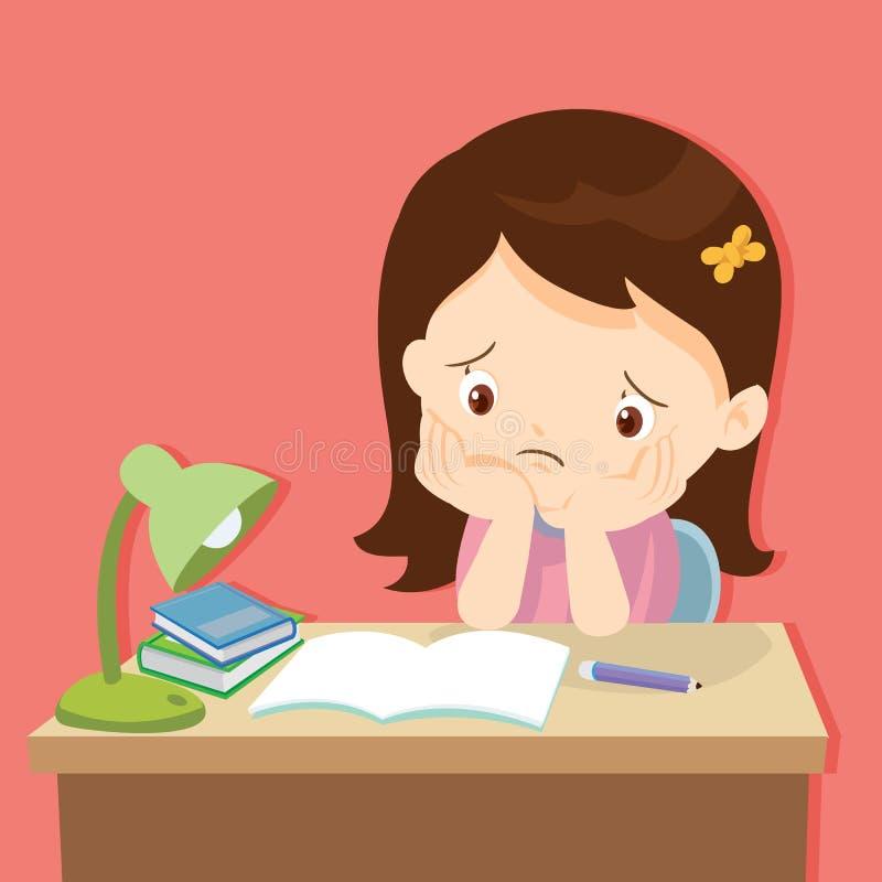 Little cute girl bored homework. Kid boring about something.back to school.cute girl bored homework royalty free illustration