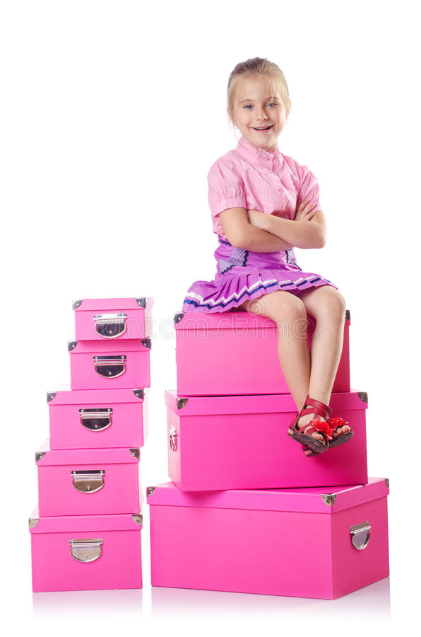 Download Little Cute Girl With   Boxes Stock Photography - Image: 27175602