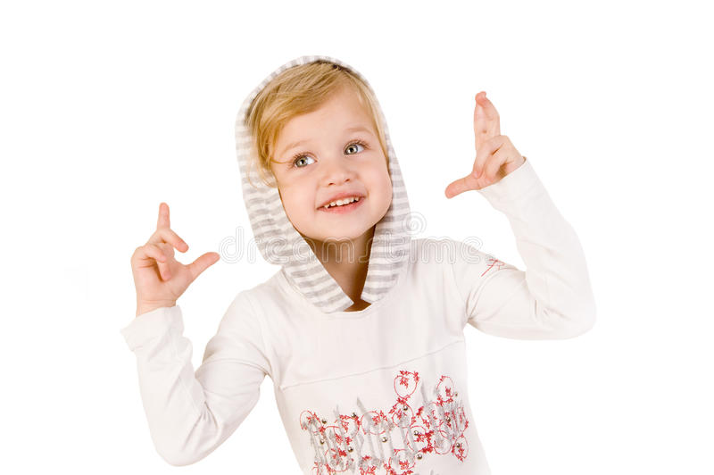 Little cute girl crossing fingers royalty free stock photography